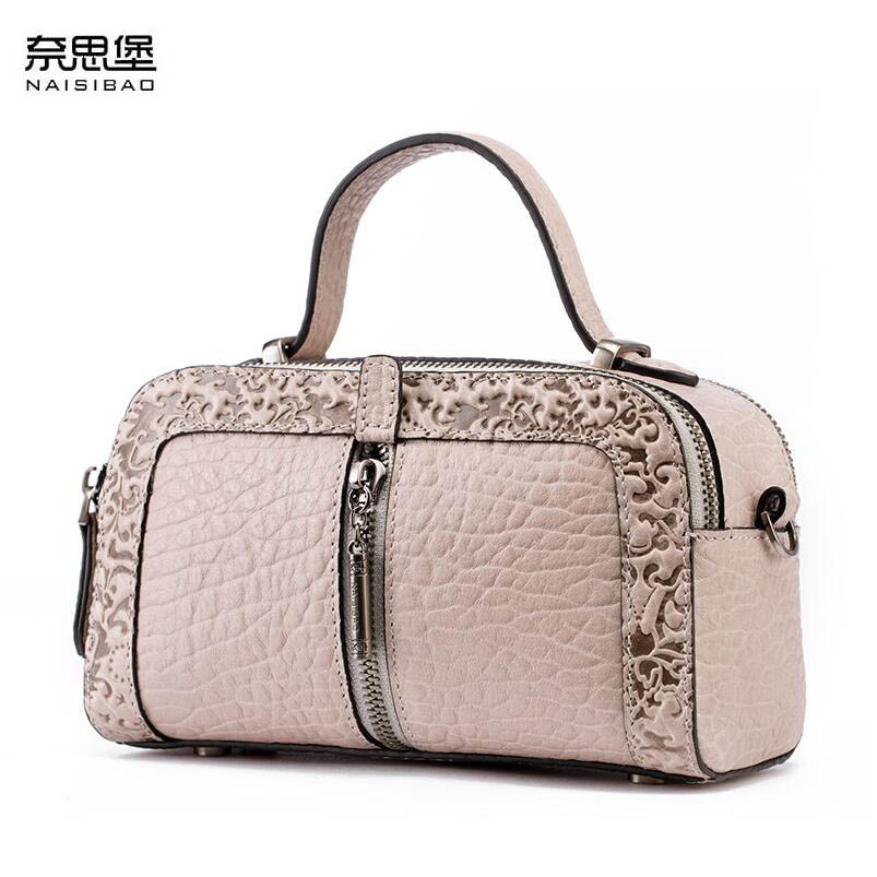 NAISIBAO 2018 New women genuine leather bag embossing fashion Luxury women handbags shoulder bag mini small cowhide bag 2016 new women genuine leather bag fashion chinese style top quality cowhide embossing women leather handbags shoulder bag