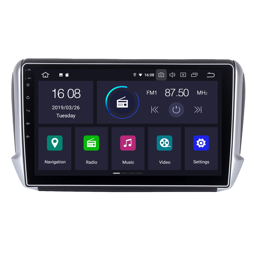 RoverOne For <font><b>Peugeot</b></font> <font><b>208</b></font> 2008 Android 9.0 Autoradio Car Multimedia Player Radio GPS Navigation Head Unit NO DVD image