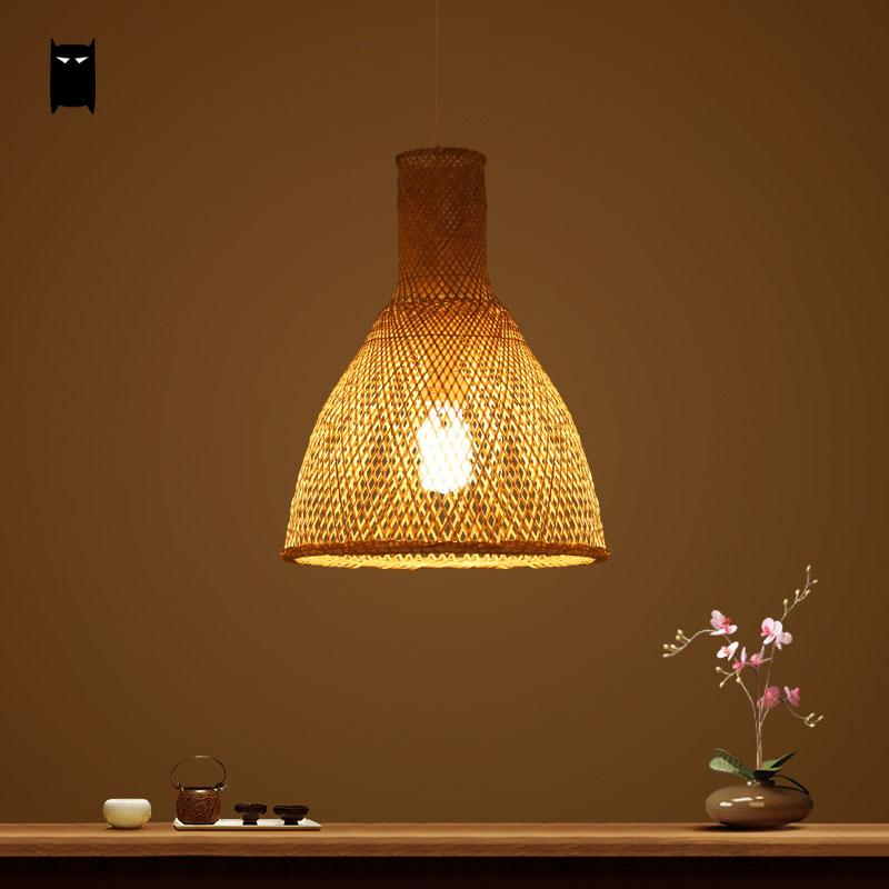 Bamboo Wicker Rattan Shade Pendant Light Fixture Modern Chinese Japanese Korean Asian Hanging Lamp Avize Luminaria Tea Room Bar southeast asian chinese antique tea bamboo rattan lamp chandelier lamp box farmhouse inn lights ya7265