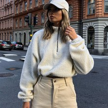 Long Sleeve Zipper High Neck Faux Lambswool Crop Tops Jacket Zippers Autumn Winter Women Fashion Solid Coat