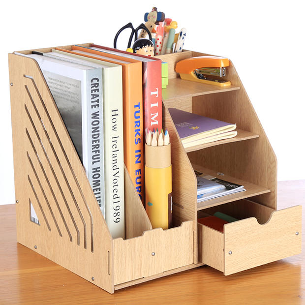 Storage Products 4 Office Paper Folder Storage Box Desktop System  Documentation Wooden Book Magazine File