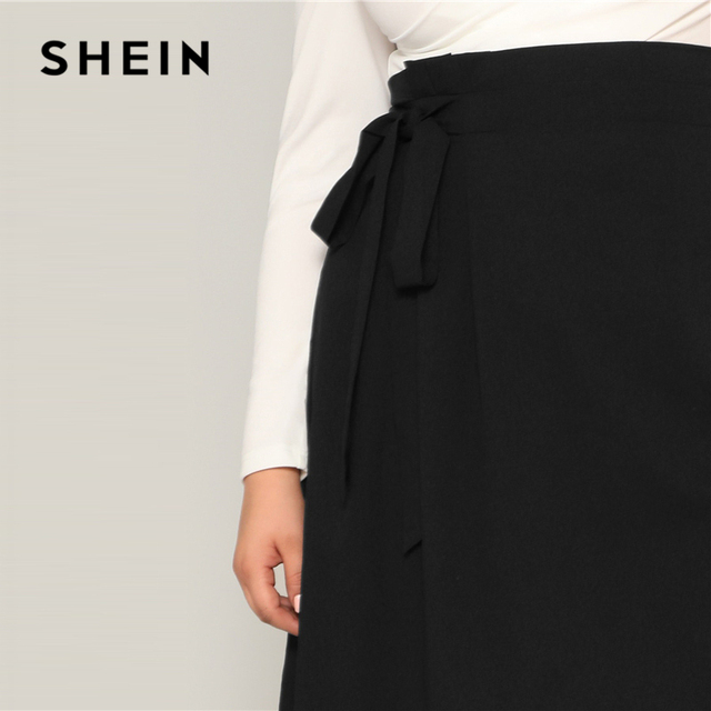 SHEIN Plus Size Black High Waist Tie Side Skirt 2019 Women Spring Knee Length Solid Casual A Line Big Size Skirts With Belt 4