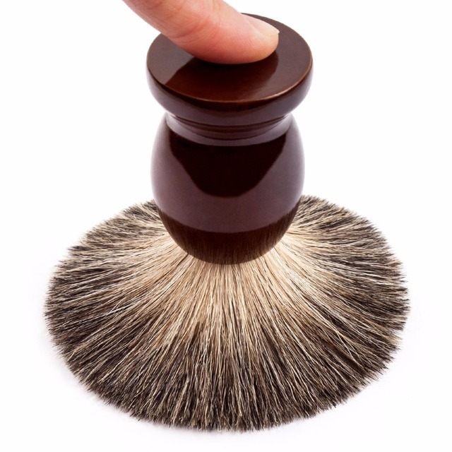Qshave Man Pure Badger Hair Shaving Brush Wood 100% for Razor IT Double Edge Safety Straight Classic Safety Razor 9.9cm x 4.6cm 1