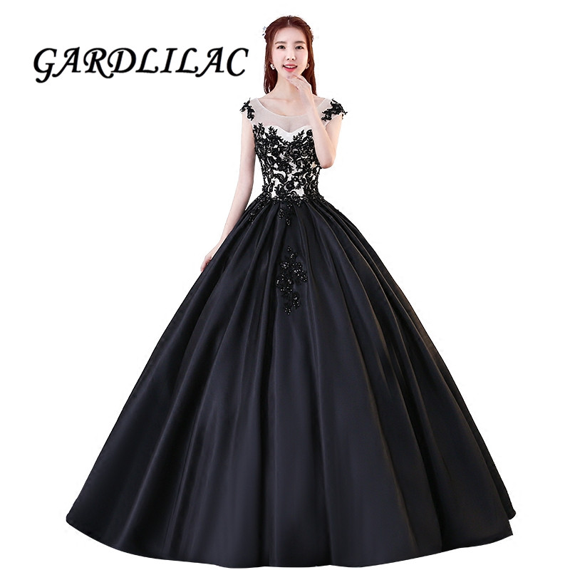 Black Lace Appliques Satin Prom Dress Long Ball Gown ...