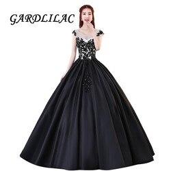Black Lace Apliques de Cetim Vestido de Baile Longo vestido de Baile Vestidos Quinceanera 2019 vestidos de 15 Vestido de Festa de Natal Formal