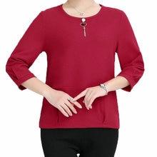 Three Quarter Sleeve Blouses Women Casual Tops Female Red Black Green Plain Shirt Woman Leisure Autumn Blouse O-neck Basic Top