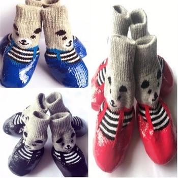 4 unids/set S M L Tamaño de algodón zapatos para perros de goma impermeable antideslizante perro lluvia botas de nieve calcetines calzado para cachorros Pequeños Gatos Perros