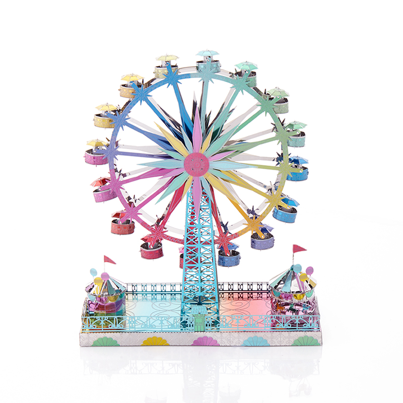 Jigsaw Toys 3D Metal Puzzles Can Rotate Ferris Wheel DIY Stainless Steel Toy Model Assembly Pack Adult Puzzle Collection Gifts