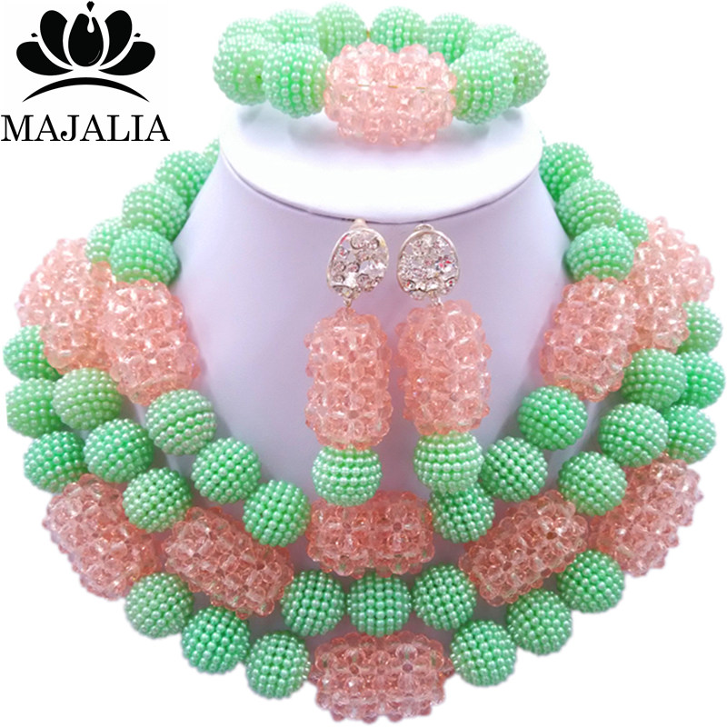 все цены на Majalia Fashion Charming Nigerian Wedding African Jewelry Set Light green and Peach Crystal Necklace Bride Jewelry Sets 3SZ066 онлайн