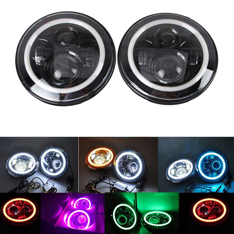 Pair 7 Inch LED projector Headlight Hi/Lo DRL Halo ring Angel eyes For Jeep CJ/Wrangler JK Land Rover Defender Fog Light Lamp