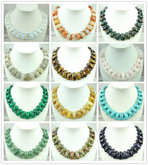 Fashion Alami Pink Kuarsa Onyx Opal Tiger Eye Batu Liontin Rantai Buatan Tangan Permata Perhiasan Kalung untuk Wanita Perhiasan P46