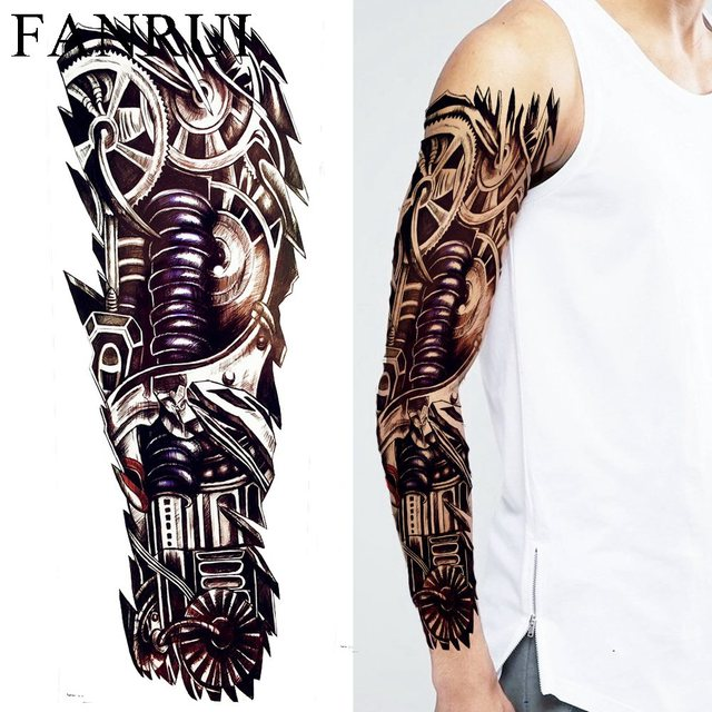 Negro Largo Robot Brazo Falso Tatuaje Pegatinas Hombres Partido