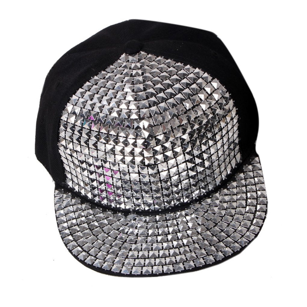 Men Women Shiny Rivet Baseball Cap Hats Adjustable Unisex Hip Hop Hat unisex knit winter women men cashmere hip hop beanie cap skull baggy wool knitted hat