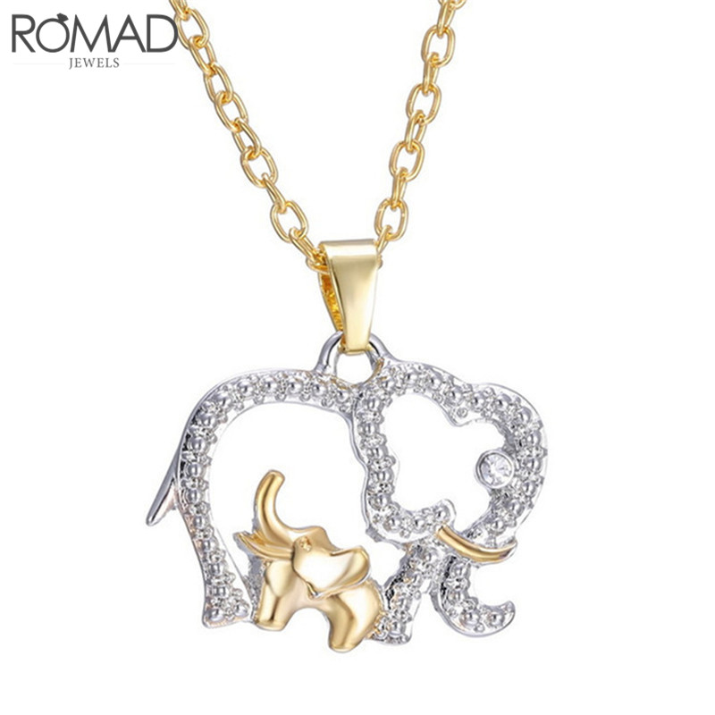 Capable Romad Mother's Day Gift Creative Necklace Gold Color Cute Animal Crystal Double Elephant Pendant Gold Mother Baby Necklaces R4 To Help Digest Greasy Food