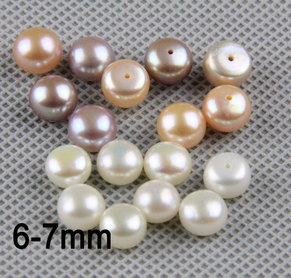 Matched Freshwater Pearl Pairs,6-7mm Near Round Button Shape,white,pink,purple 0.9mm Half Drilled,ready For Diy Jewelry Making Making Things Convenient For The People Beads & Jewelry Making Jewelry & Accessories