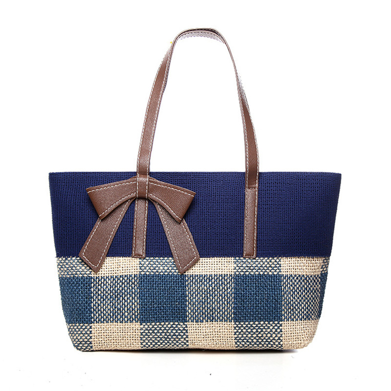 2018 Lattice Bohemian Straw shoulder Bags for Women Big Casual Totes Beach Handbags Summer Vintage Rattan Bag Handmade Kintted