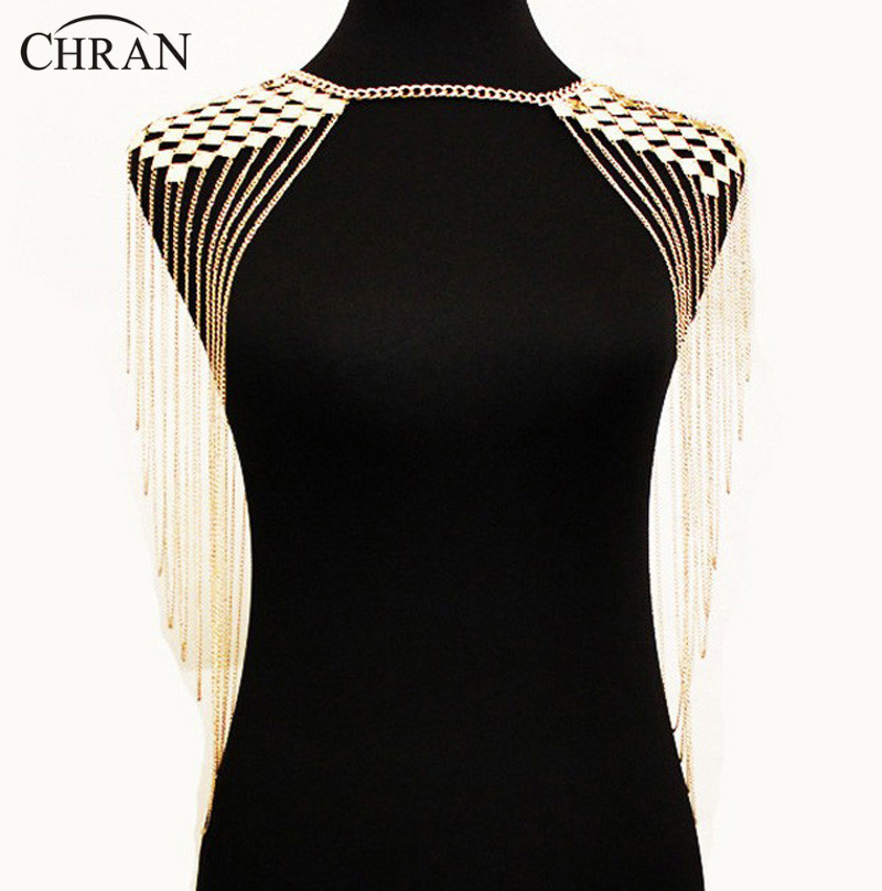 Chran New Arrival Women Sexy Beach Chain Exaggerated Shoulder Multi layer Gold Silver Metal Tassel Chain Shoulder Necklace BC805 gold multi layer necklace sweater chain necklace
