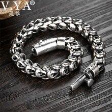 V.YA 925 Sterling Silver Heavy Bracelet for Men Punk