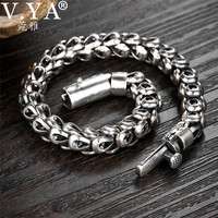 V.YA 925 Sterling Silver Heavy Bracelet for Men Punk Men's Bracelets Bangles Silver Jewelry Custom Made/Customize Size