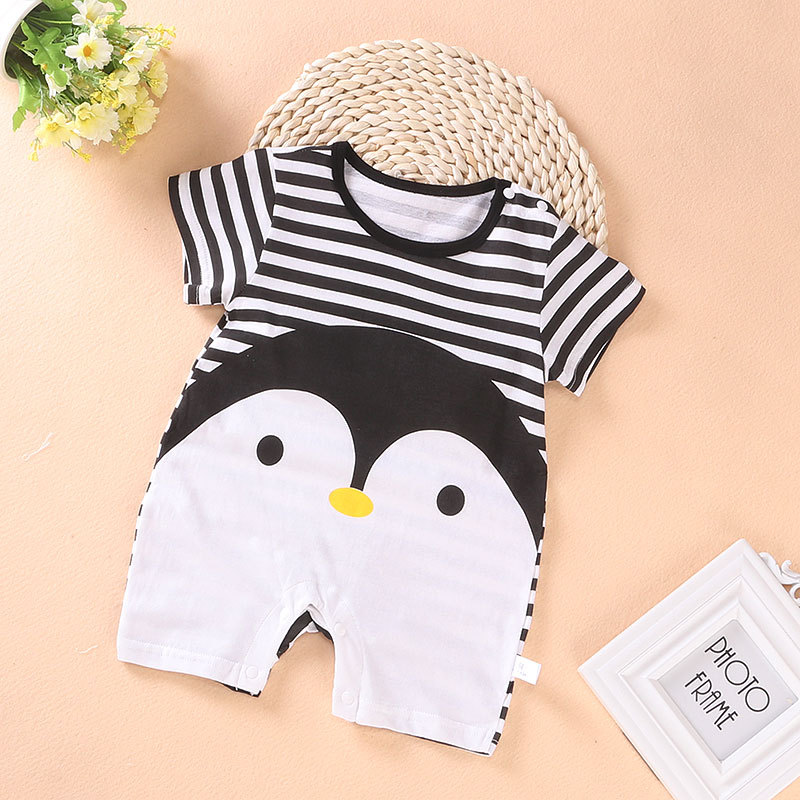 Boys Girls Rompers Newborn Baby Clothes Covered Button Summer Jumpsuits For Kids