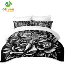 3D Skull Bedding Set Rose Sugar Duvet Cover Valentines Day Quilt Tribal Couples Home Decor 3Pcs D30