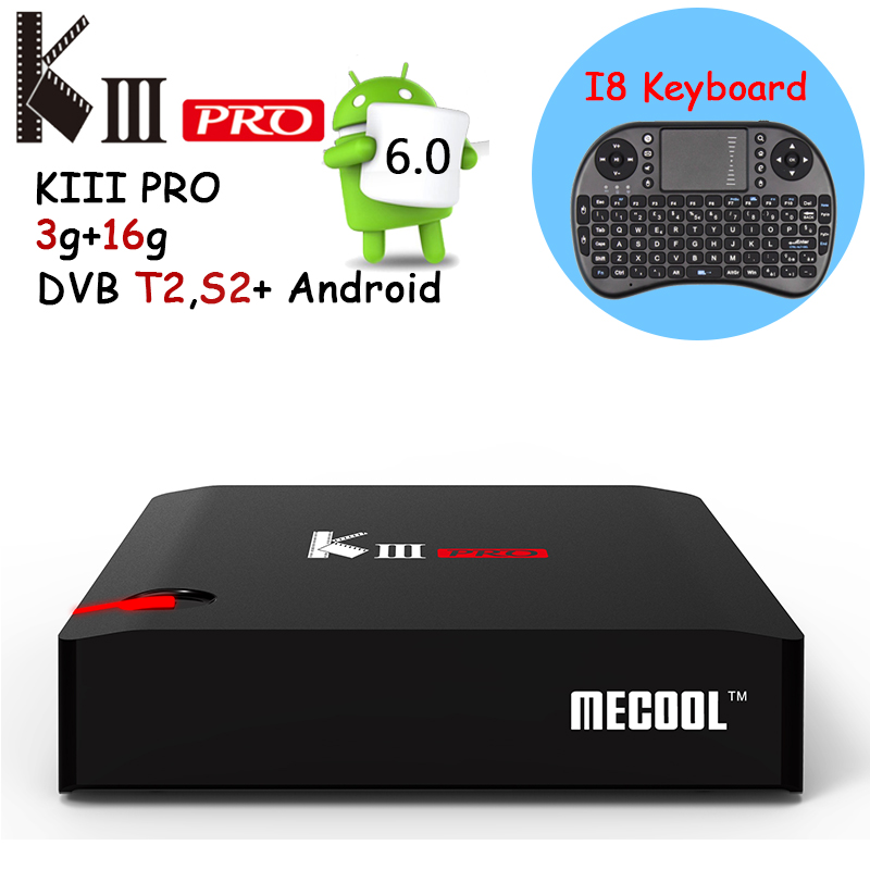 Prix pour KIII PRO 3 GB/16 GB Android TV Box Amlogic S912 octa base Android 6.0 Smart Tv Box 2.4G/5 GHz WiFi 4 K Set Top Box Livraison clavier