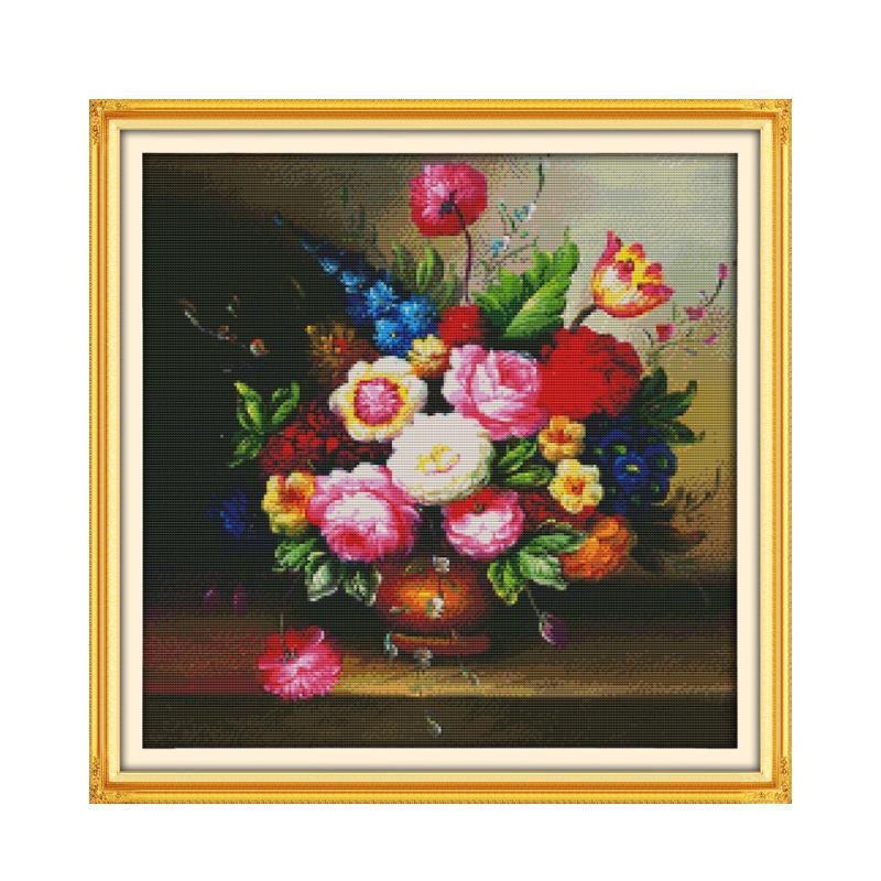 Joy Sunday Cross Stitch Kit Material Kit Handmade DIY Embroidery Beautiful painting vase blooming flowers crafts