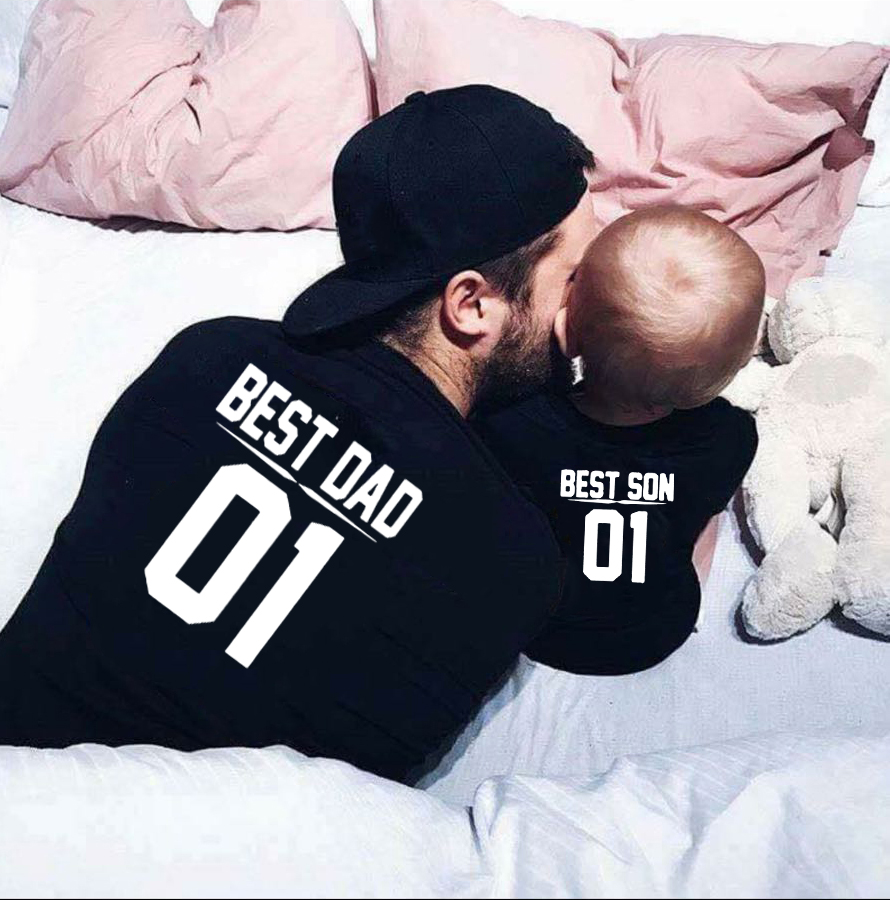 1pcsBest Dad Best Son 01 Dad And Me Tshirts Father And Son  Family  Outfits Fathers Day Gift Baby Boy Summer Look