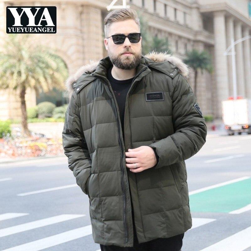 2019 hiver hommes Long chaud canard vers le bas manteau mode à capuche grande taille 10XL fourrure col bouffant vestes chapeau Streetwear Doudoune Homme