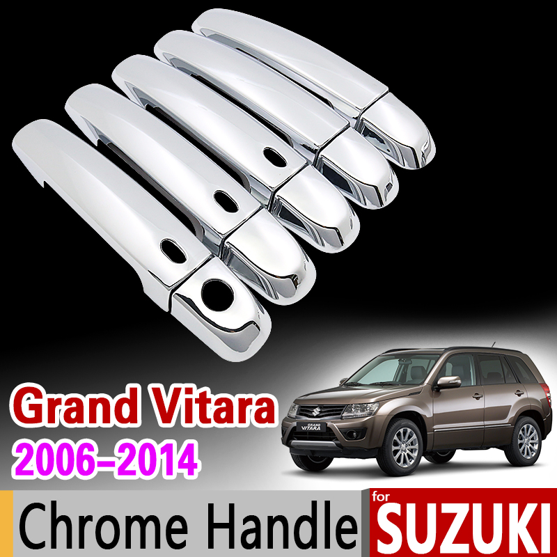 for Suzuki Grand Vitara 2006 - 2014 Chrome Handle Cover Trim Set Grand Nomade Escudo 2007 2009 2010 2012 Accessories Car Styling дефлектор капота skyline suzuki grand vitara escudo 2005 sl hp 129