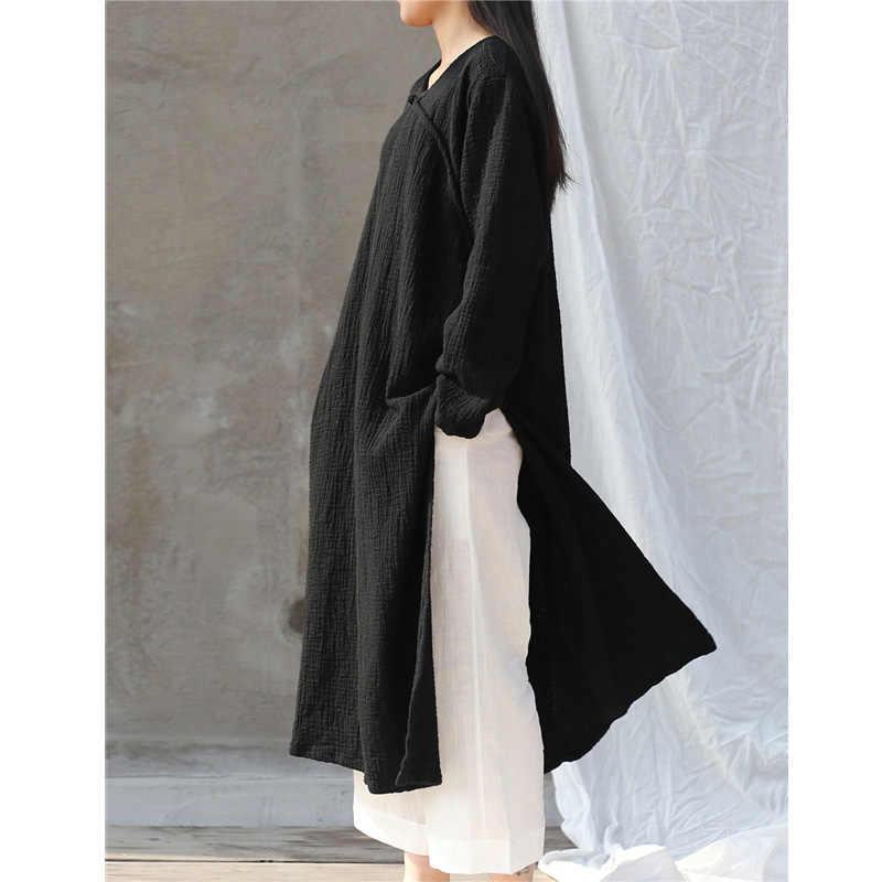 SCUWLINEN 2019 春秋の女性のドレス固体長袖手作りプレートボタンサイドスプリットロングコットンドレス W31