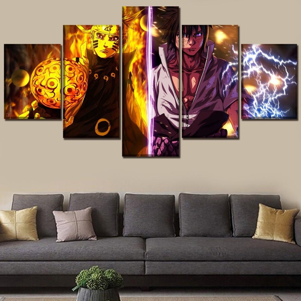 Tableau Naruto et Sasuke 1 Affiche murale moderne un ensemble d anime Affiche en 5 panneaux peinture murale d coration murale