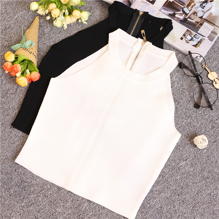 Summer Wanita Slim Knitting Halter Off-shoulder Tank Tops Wanita Bodycon dikait Camisole tanpa lengan Short Tee shirt 612