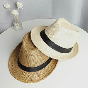 Adult Unisex Fashion Summer Casual Beach Sun Straw Panama Jazz Hat Cowboy Fedora hat Gangster Cap Women Sunvisor Men Sunhat
