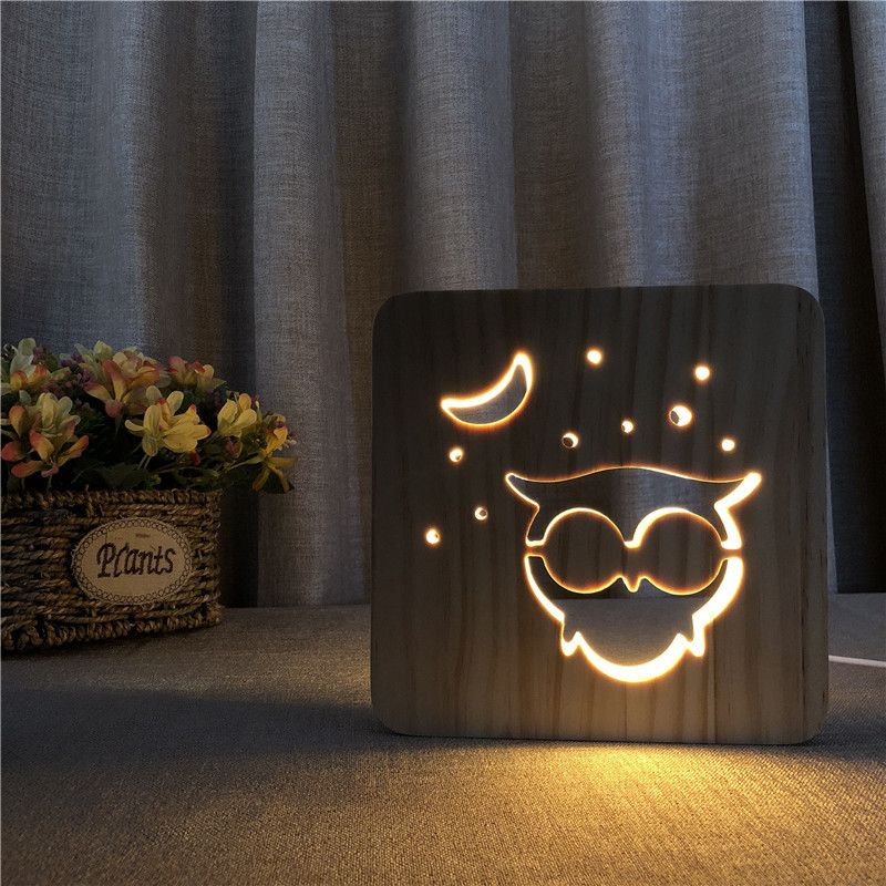 Owl Shape Wooden Lamp Hollowed-out 3D Wood Night Light Warm White LED Desk Lamp USB Power Supply as Friend's Gift image