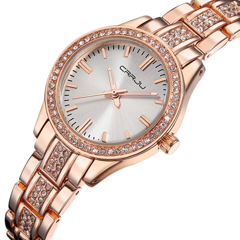 Prix pour Nouveau Top marque CRRJU montre femmes de luxe robe en acier plein montres Dames de mode casual montre à quartz Rose or tableau Féminin horloge