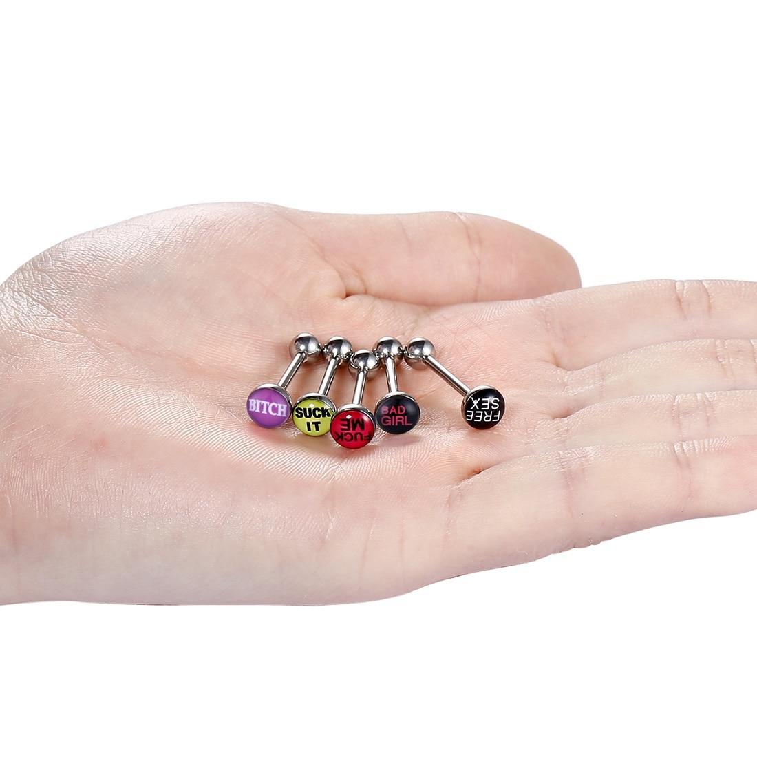 5 шт./лот популярный язык кольцо-пирсинг в язык штанги пирсинг 316L нержавеющая сталь пирсинг Ланге 14 г для девочек женщин SD046