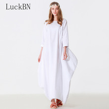 5XL Plus Size Women Maxi Dress Spring Autumn O Neck Loose Seven-quarter Sleeve Cotton Linen Gown Robe Dresses Large