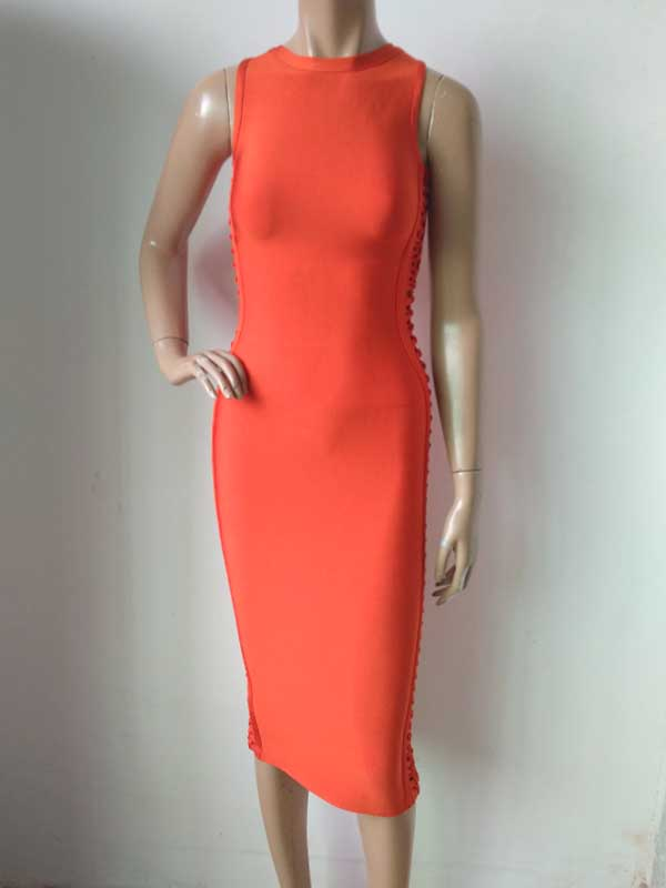 factory wholesale  New Dress Orange red Celebrity Stretch Slim casual Boutique Cocktail party Bandage dress (L1310)
