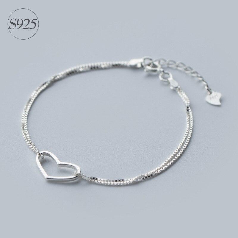 """1 Stück 925 Sterling Silber Schmuck Doppelschichten Open Heart Kette Armband Einstellbar 7,9 """"zoll Ls137"""