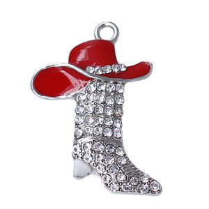 New Products Red Hats Shoes Metal Pendant Rhinestone Crystal Boots charm cowboys Jewelry