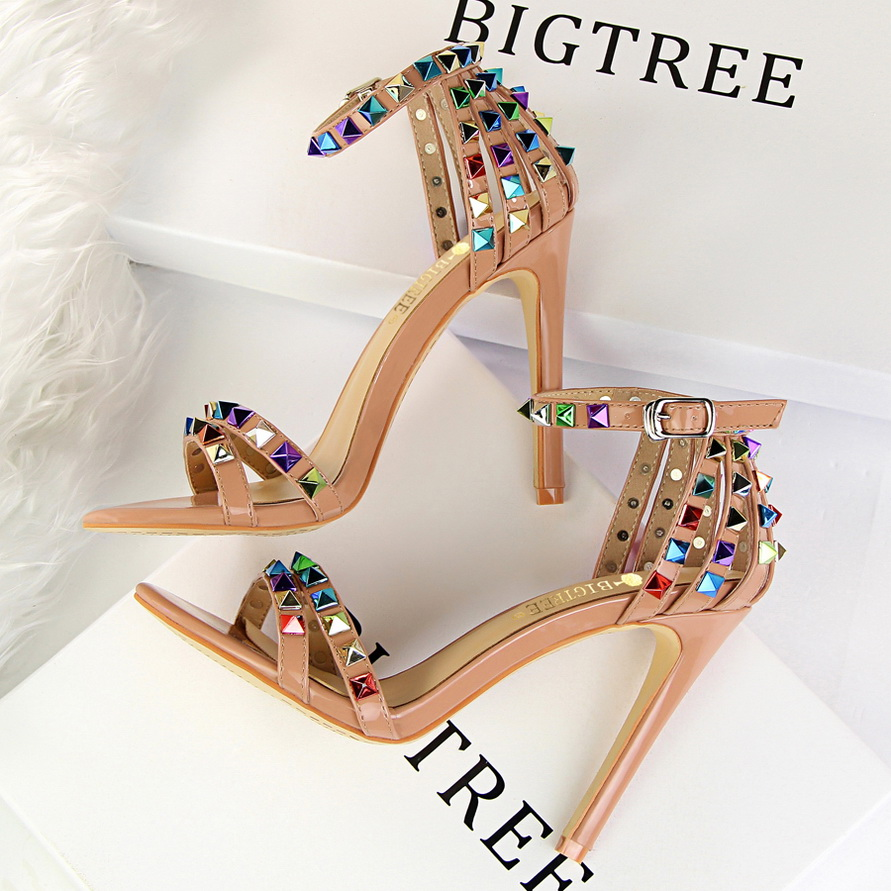 Free Shipping 2017 New Sandals Colorful Rivets High Heels Sexy Women With Fine Shoes 7 Color Size 34-39  top quality wholesale price slipper mixed color thick high colorful spike heels fashion sexy women summer sandals free shipping