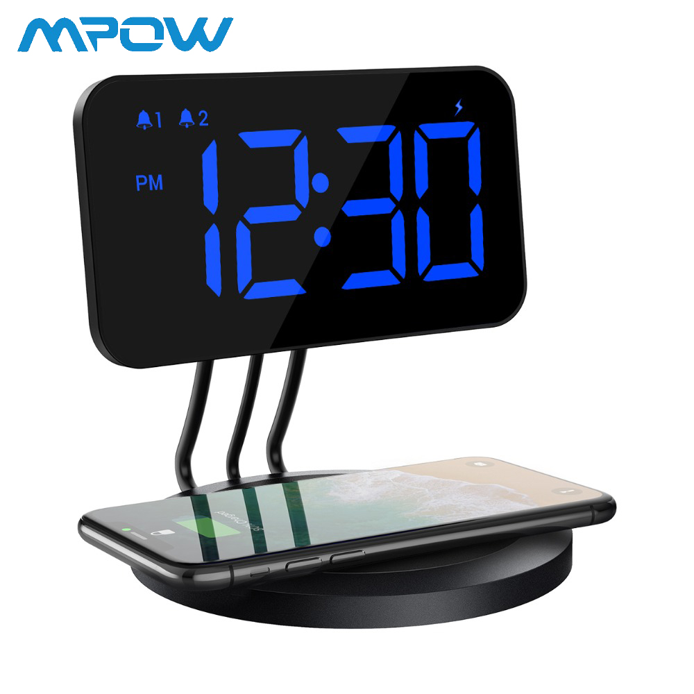 Mpow Dual Alarm Clock with Snooze Button LED Digital Display Screen Clock with Wireless Charger Pad for All Qi Enabled Phones-in Alarm Clocks from Home & Garden    1