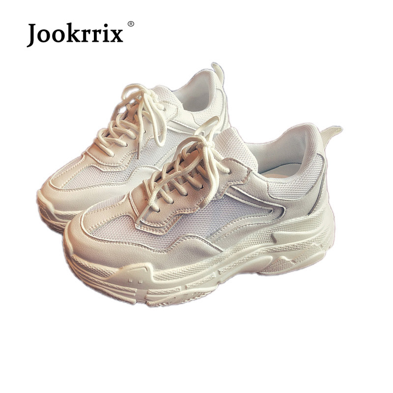 Jookrrix 2018 Summer New Fashion Brand Lady Casual White Shoes Women Mesh Shoes Adult Girl Leisure Platform Sneaker Breathable women creepers shoes 2015 summer breathable white gauze hollow platform shoes women fashion sandals x525 50