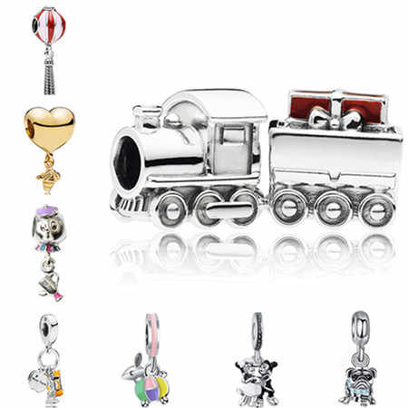 Punk Small Silver Color Enamel Mickey Donald Duck Queen Head Train Beads Fit Pandora Charms Bracelets Making Jewelry Bijoux DIY