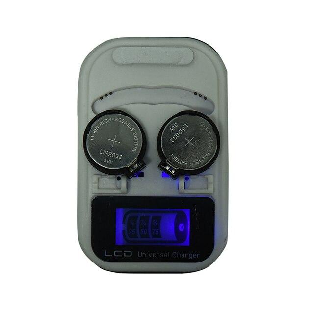 LIR2032 LIR2025 LIR2016 3,6 V recargable botón de litio pila cargador de batería LCD indicador inteligente US enchufe 2 ranuras