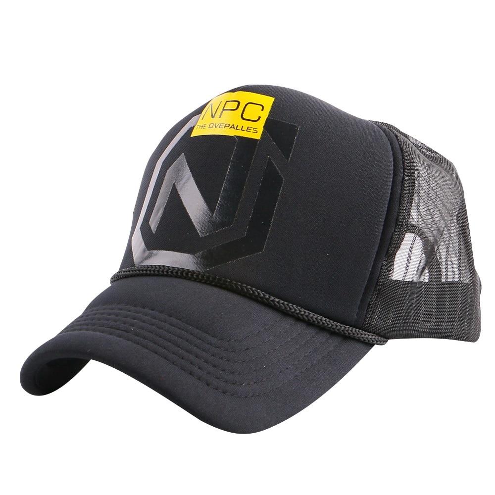 Wanita pria dipasang 5 panel musim panas topi baseball putih hitam  sederhana kasual luar jala topi 10c8d9ab93