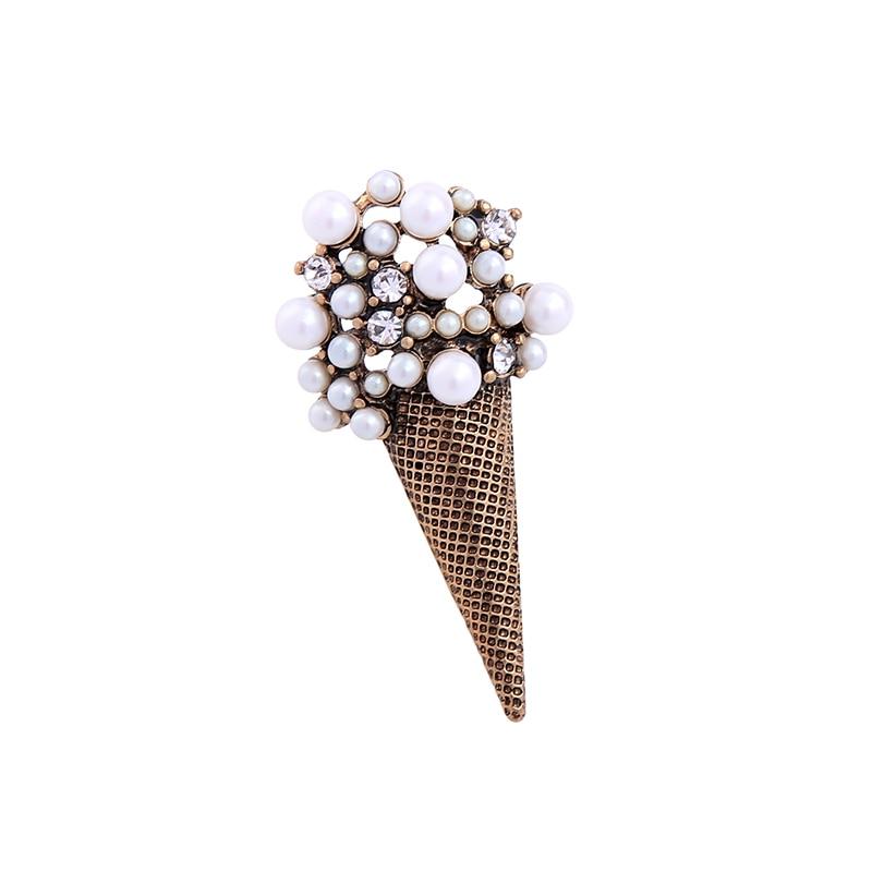 Imitation Pearl Ice Cream Shape Women Brooch Pins Ali express Personalized Sweater Vinta ...