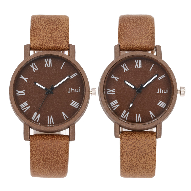 Brand Leather Watch Luxury Classic Roman Number Watch Fashion Casual Simple Quartz Wristwatch Clock Women Watches For Couple