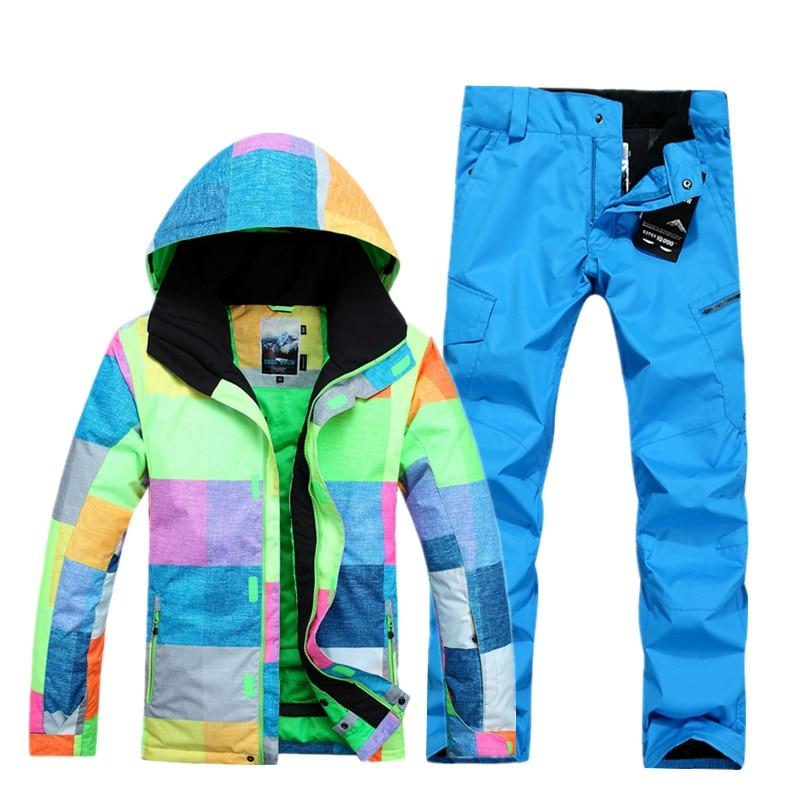 2018 Gsou neige extérieure simple double planche respirant coupe-vent imperméable combinaison de ski costume masculin pour la protection du vent